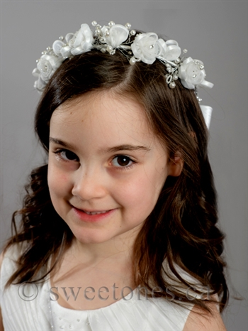 White floral hair band style acc hb054 first communion veil accessories first communion headbands first communion tiara flower girl headbands tiara first communion gloves first communion mightylinksfo