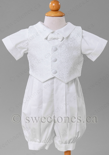 fd648d564 Boy poly cotton romper with vest Christening outfit. This 3-piece ...