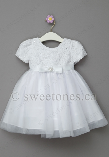41443bba5c3 Baptism white lace and tulle dress