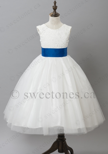 5cfc8a1abd4 Lace flower girl dress with blue sash